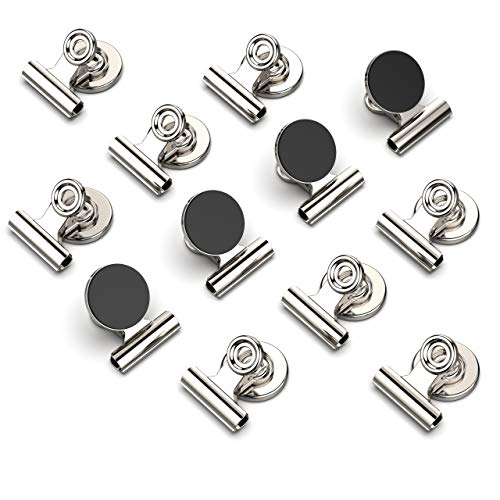 KCS Magnetic Clips Heavy Duty - 12 Pcs Stainless Steel Fridge Magnets, Fridge Magnet, Magnets for Whiteboard, Small Magnets, Paper Clips Large, Whiteboard Magnets, Binder Clips, Chip Clip, Metal Clips