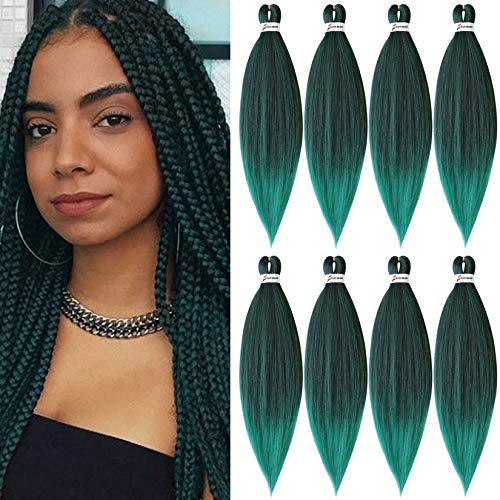 8 Packs Pre-Stretched Braiding Hair 20' Braids Professional Yaki Synthetic Hair for Crochet Twist (20' 8 Packs, T1B/Green)