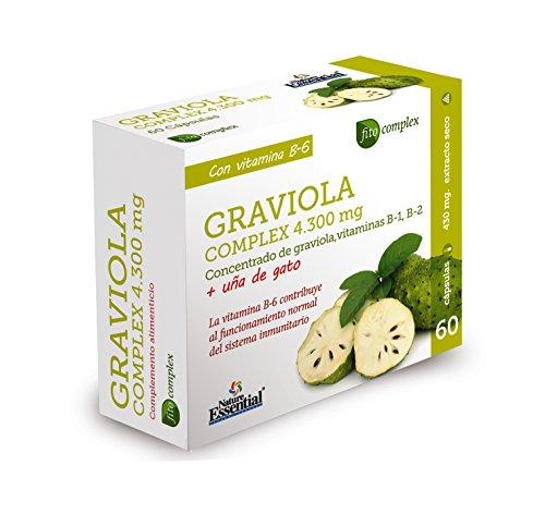 NATURE ESSENTIAL | Graviola (Complex) 4.300 mg | Con graviola, uña de gato, Vitamina B-1, Vitamina B-2 y Vitamina B-6-60 Capsulas.