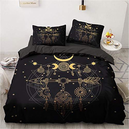 Hbvvaceo Black exquisite pattern Duvet Cover Set - Duvet Cover and Pillowcase, Microfibre, 3D Digital Print Three-Part Bedding Set, Double 200 x 200 cm Children's bedding set-baby bedding set
