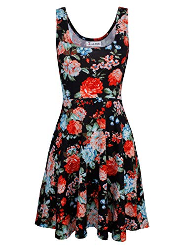 Tom's Ware Womens Casual Fit and Flare Floral Sleeveless Dress TWCWD054-BLACK-US S