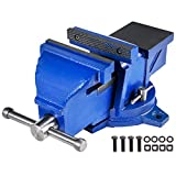 BestEquip Bench Vise 6 Inch Multipurpose Vise Kn25 360-Degree Rotation Heavy Duty 44lbs Vise Cast Iron Swivel Base with Ground Anvil Vise Grip Table Vice Clamping Fixing Equipment