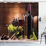Rideau de douche à vin, verres de vin rouge et blanc servis avec des raisins de dégustation gastronomique française, ensemble de décor de salle de bain en tissu en tissu avec crochets vert pâle - 60