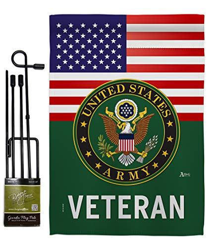 US Army Veteran Garden Flag - Set with Stand Armed Forces Rangers United State American Military Retire Official - House Decoration Banner Small Yard Gift Double-Sided Made in USA 13 X 18.5