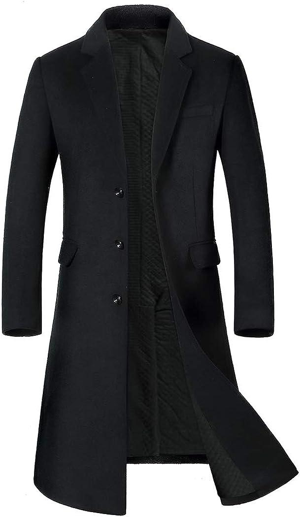 Michealboy Men's Wool Blend Pea Coat Double Breasted Back Slit Flap Pockets Knee Length Black Grey
