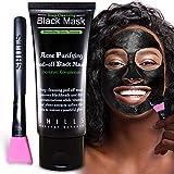 SHILLS Charcoal Black Mask, Peel-Off Mask, Pore Control, Blackhead remover, Skin Cleansing, Purifying Bamboo Charcoal, Peel Off Black Mask, Smart Beauty, Pink Brush 1 Bottle(1.69 fl. oz)