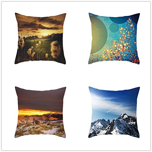 Throw Pillow Case Cushion Covers Winter Landscape Velvet Soft Decorative Square Double-Sided Pillowcases for Livingroom Sofa with Lnvisible Zipper Car Home Decor Set of 4 T1526 60x60cm/23.4x23.4in
