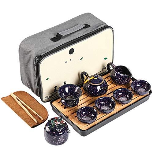 LLSS Juego de té de cerámica de Viaje portátil, Tetera de Almacenamiento Integrado con Flor de Cerezo El Juego de Taza de té Kungfu se Puede Utilizar en la Oficina en CAS