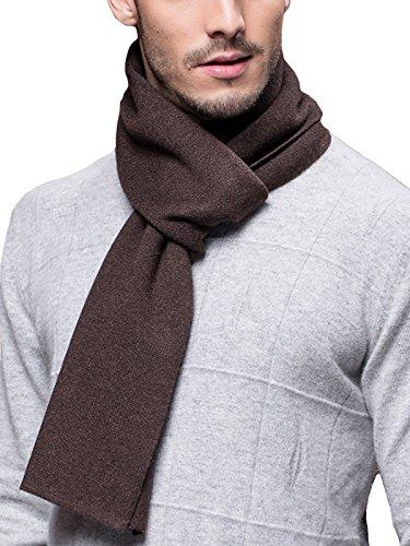 Invierno Otoño Hombre Bufanda de Punto 6% de Lana Súper Suave Casual de Negocios - 180*30 cm Marrón oscuro