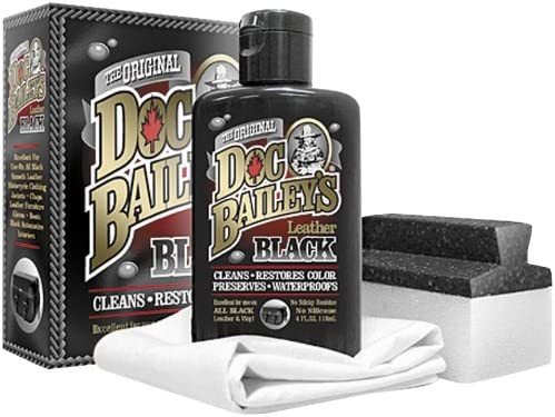 Doc Bailey's Leather Detail Kit Black - Restore Your Black Leather & Vinyl With This Leather Cleaning Product - Condition, Clean, Waterproof & Re-Dye - Maintain & Protect All of Your Leather