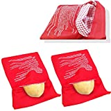4 Pcs Red Potato Microwave Pouch Reusable Cooker Bag Cooker for Potatoes Corn Cobs Yams Just in 4 Minutes (Red 10 inch x 8 inch)