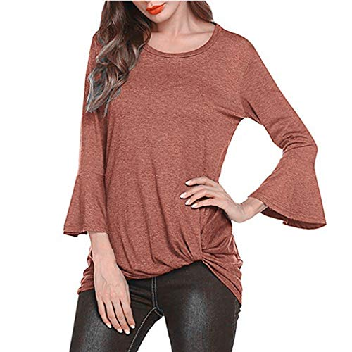 Fantastic Prices! Women Blouse Tunic 3/16 Bell Sleeve Casual Pullover Tops Scoop Neck Solid T-Shirt