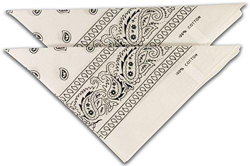 fashionchimp Nicki-Halstuch aus 100% Baumwolle im 2er Set, Unisex Bandana, AZO-Frei (Weiß)