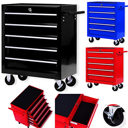 Masko® Werkstattwagen - 5 Schubladen, schwarz ✓ Abschließbar ✓ Massives Metall | Mobiler Werkzeug-Wagen ohne Werkzeug | Profi Werkstatt-Wagen | Rollwagen zur Werkzeugaufbewahrung mit Schloss |