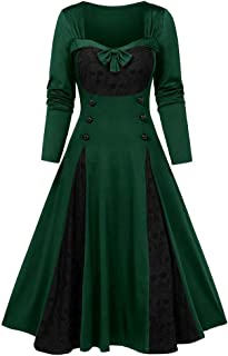 🍒 Spring Color 🍒 Gothic Halloween Skeleton Print Long Sleeve Patchwork Dress Vintage Lace Button Swing Pleat Midi Dress