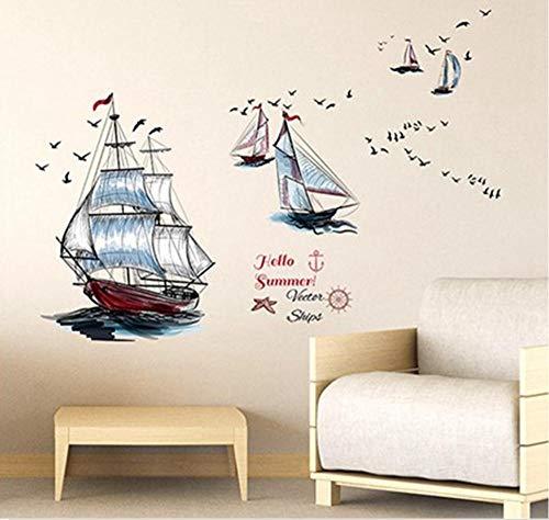Vintage Segelboote Wandtattoos Art Age Of Wind Decor Wandaufkleber für Wohnzimmer Dekor Hause PVC Wandtattoos