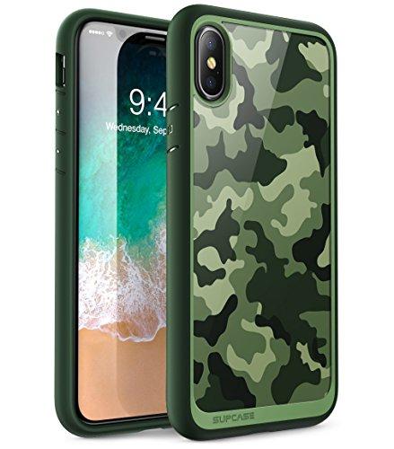 SupCase Hülle Kompatible für iPhone X/iPhone XS Handyhülle Tarnung Schutzhülle Camouflage Case Tarnmuster Transparent Cover [Unicorn Beetle Style], Grün