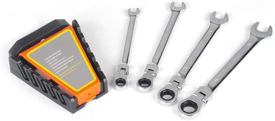 4 -Piece Flex-Head Ratcheting Wrench Vanadium Chrome Max 59% OFF Excellence Set Metric