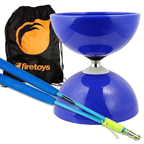 Blue Big Top - Jumbo Bearing Diabolos Set, Blue Superglass Diablo Sticks, Diabolo String & Bag!