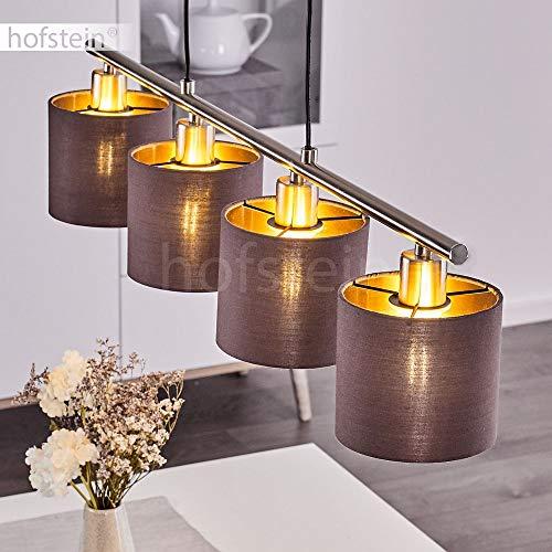 Hängeleuchte Alsen, moderne Pendelleuchte aus Stoff/Metall in Taupe-/und Goldfarben, 4 x E14 max. 28 Watt, Schirm Ø14 cm, beliebig höhenverstellbar, LED geeignet