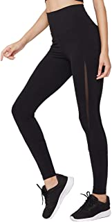MAVOUR COUTURE Fashion Slim Power Stretch High Waist Leggings for Women with Side Mesh for Workout Yoga Athletic