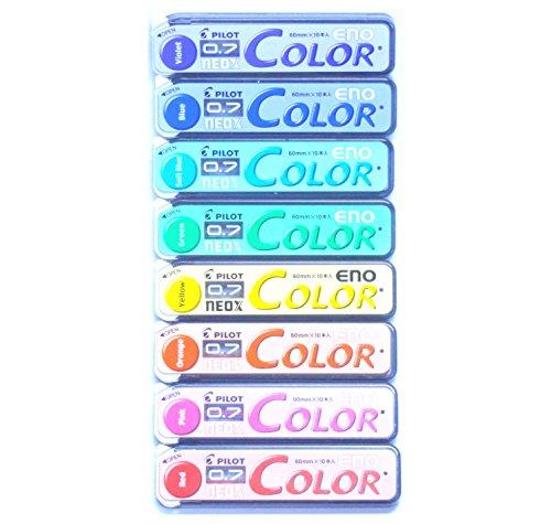 Pilot Color Eno Neox Mechanical Pencil Lead, 0.7 mm, 8 Color Set (Japan Import)