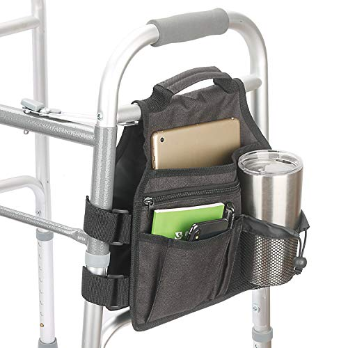 Side Walker Bags,Walker Organizer Pounch for Rollator and Folding Walkers,Walker Side Accessories for Elderly, Seniors, Handicap, Disabled (Double Sided) (Black)