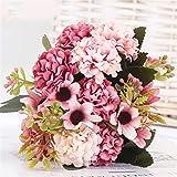 HGDD 15 Blume Kopf Seide Hortensie künstliche Blume weiße Hochzeit Blumen klein blumenstrauß gefälschte Blume Party DIY Dekoration (Color : 3)