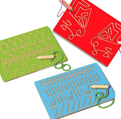 Montessori-Material Schwungübungen, 3 Nachspurtafeln zur schonenden Stifthaltung, Schreibübungen zum korrekten Pinzettengriff