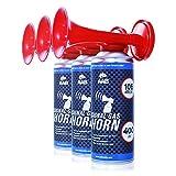 AAB Signal Gas Horn 400ml - Set di 3 Pezzi - Trombetta da Stadio ad Aria Compressa, Segnal...