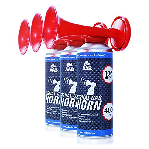 AAB Signal Gas Horn 400 ml – Laut Nebelhorn 106 dB(A), Airhorn, Fußball Tröte, Gasfanfare, Pressluft Luftdruck Fanfare, Drucklufthupe, Tröte - Wertpaket 3 Stück