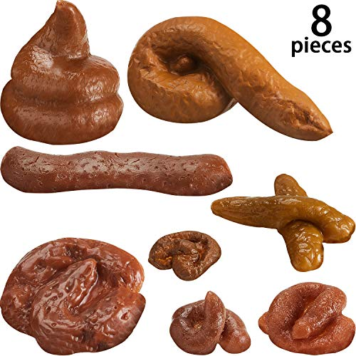 Boao 8 Pieces Fake Poop Realistic Fake Turd Novelty Floating Fake Poop Toys for Prank, 8 Different Shapes