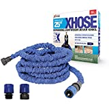 The Official XHose Expanding Garden Hose Pipe with BONUS adaptor, 25ft, Blue