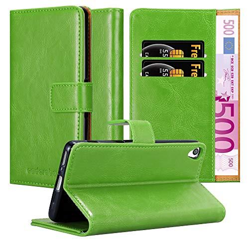 Cadorabo Hülle für Sony Xperia XA in Gras GRÜN – Handyhülle mit Magnetverschluss, Standfunktion & Kartenfach – Hülle Cover Schutzhülle Etui Tasche Book Klapp Style