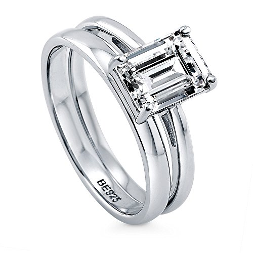 BERRICLE Rhodium Plated Sterling Silver Emerald Cut Cubic Zirconia CZ Solitaire Engagement Wedding Ring Set 2.17 CTW Size 6.5