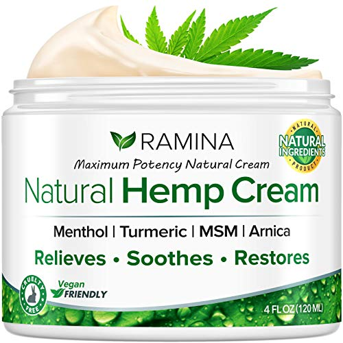 Ramina Natural Hеmp Extract Cream - Made in USA - Infused with Turmeric, MSM & Arnica - Soothes Discomfort in Muscles, Joints, Back, Knee, Nerves - Non-GMO - 4 fl oz