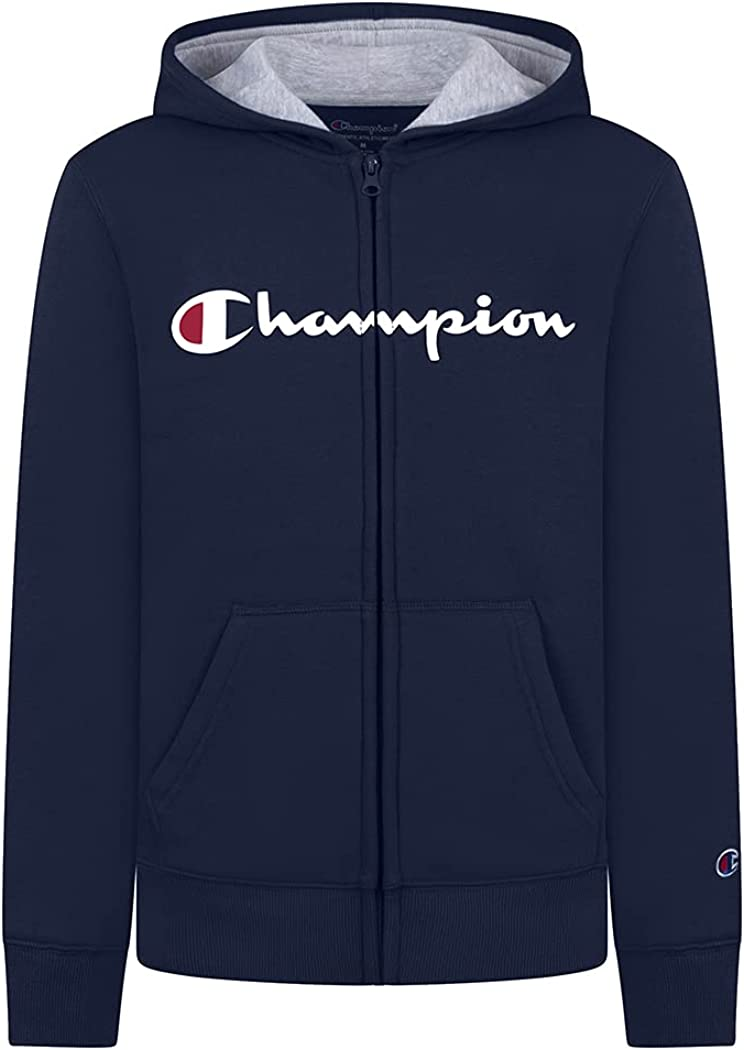 Champion Boys Fleece Hooded Zip Up Sweatshirt Hoody Kids Clothes