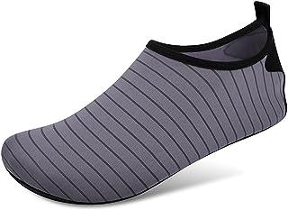 Zwemmen water schoenen sokken, blootsvoets bescherming snel droge aqua sokken voor zee strand zwembad mannen vrouwen,Gray,...
