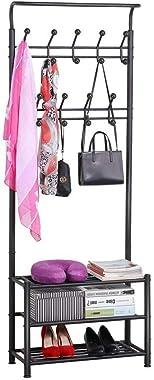 Topeakmart Metal Coat Rack Hall Tree Shoe Bench Entryway Storage Shelf, 18 Hooks Coat Rack Stand with 3-Tier Shoe Bench, Coat