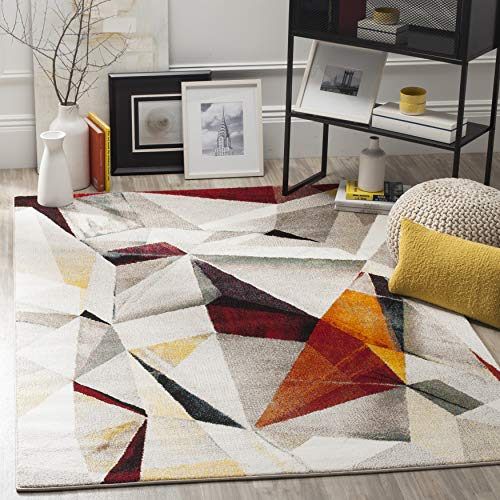 Safavieh Porcello Collection PRL6940F Modern Abstract Non-Shedding Living Room Bedroom Dining Home Office Area Rug, 5'3' x 7'6', Light Grey / Orange