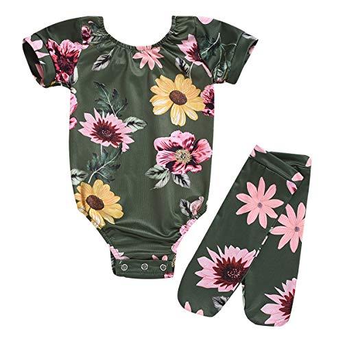 Body bébé Fille Filles Florper Print Manches Courtes Romper Combinaison Body + Fleur imprimé Bas 2pcs (Color : Green, Size : 12-18M)