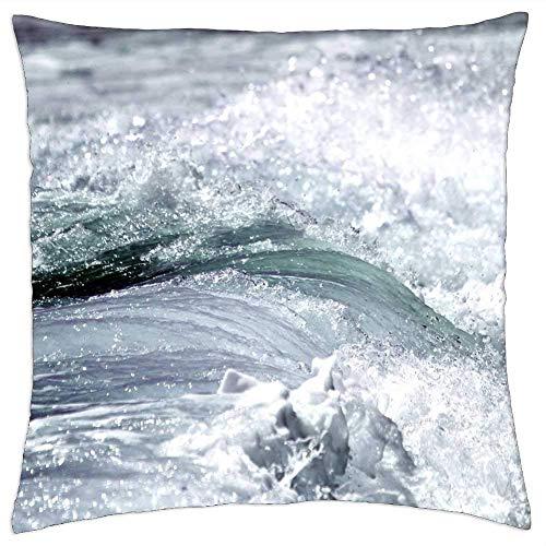 ETGeed Wave Ocean Sea Inject Coast Spray Beach Water Throw Pillow Fundas para sofá Cama decoración del hogar, 18 x 18 Pulgadas