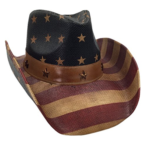 Men's USA American Flag Cowboy Hat Vintage Tea Stained
