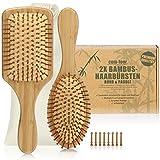 com-four® Set di 2 spazzole Naturali per Capelli in bambù - Spazzola per Palette con setole Naturali - 100% Vegano (2 Pezzi: Pennello Multiuso + Pennello a Paletta)