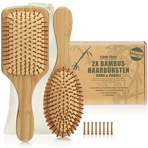 com-four® 2er Set Natur-Haarbürste aus Bambus - Paddelbürste mit Naturborsten für natürlich schöne Haare - Für Männer, Frauen, Kinder - 100% Vegan (2 Stück - Allzweckbürste + Paddelbürste)
