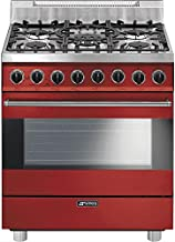 """Smeg C30GGRU 30"""" Free Standing Gas Range with 5 Gas Burners and 3 Cooking Modes, Red"""