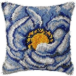 Crochet de loquet Taie d'oreiller en crochet bricolage avec motif de fleur imprimé Toile Crochet Crochet Croderie Ensemble...
