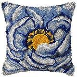 Kit de Gancho de Cierre DIY Funda de Almohada de Ganchillo con patrón de Flores Impreso Canvas Crochet Crafts Set de Bordados para Adultos Niños Inicio Actividad 17''x17 '', B Crafts for Kids