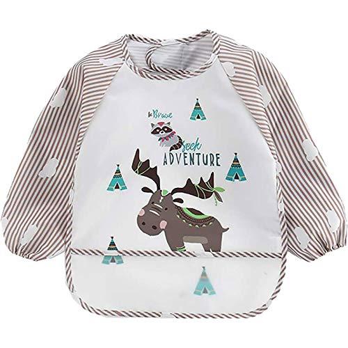 Infant Bib inverted gown Baby Waterproof Long-sleeved Striped Anti-wearing Cartoon Bib inverted gown