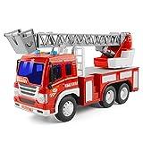 GizmoVine Camion de Pompiers Jouets pour Enfants 3 4Ans Véhicule à Inertie Mini Voiture Diecasts Modèle Escabeau de Sauvetage avec Son et Lumière (1 Pompier échelle)